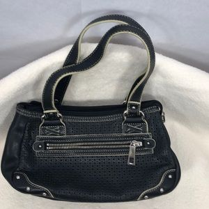 Vintage Fossil Small Black Leather Satchel   S/B13